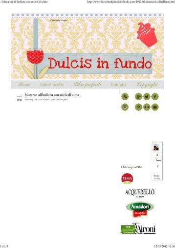 Scarica formato pdf il blog 'Le ricette di dulcis in fundo - RGPharma