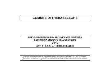 Anno 2012 per sito - Comune di Trebaseleghe