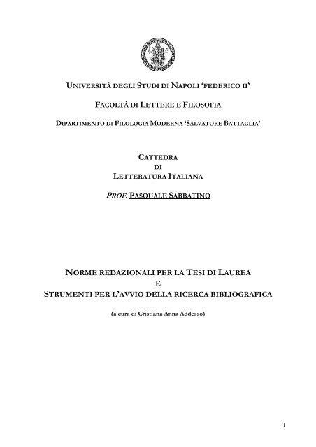 Norme Per La Compilazione Della Tesi Di Laurea Provalisa