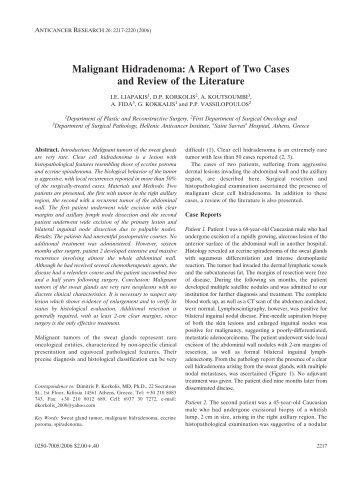 Malignant Hidradenoma - Anticancer Research