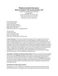 Modern Jewish Literature - Department of Hebrew & Semitic Studies ...