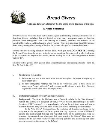 the bread givers from rebs view Comparison of the importance of family in bread givers, by anzia yezierska, and the movie avalon (2006, december 09) in writeworkcom retrieved 00:10, march 16.