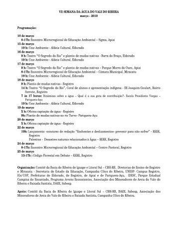 VII SEMANA DA ÁGUA DO VALE DO RIBEIRA ... - Cílios do Ribeira
