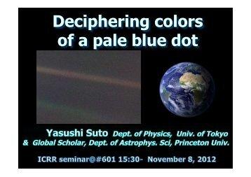 Deciphering colors of a pale blue dot