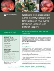 Workshop on Laparoscopic Aortic Surgery - Cleveland Clinic Center ...