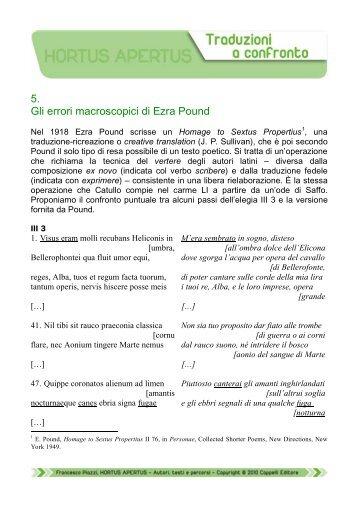 5. Gli errori macroscopici di Ezra Pound - Edu.lascuola.it