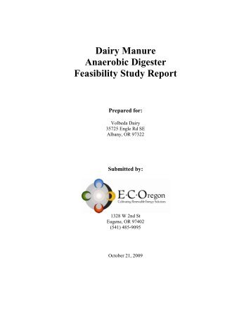 Dairy Manure Anaerobic Digester Feasibility Study Report