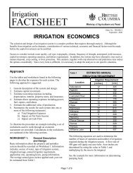 Irrigation Economics - BC Ministry of Agriculture