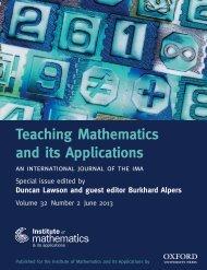 Front Matter (PDF) - Teaching Mathematics and its Applications