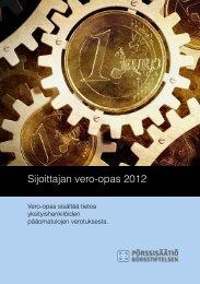 Sijoittajan vero-opas 2012 - Pörssisäätiö