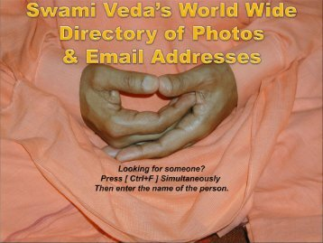 Swami Veda's World Wide VIP Directory of Photos and Email ...