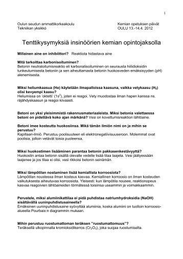 Tenttikysymyksiä insinöörien kemian opintojaksolla - OuLUMA