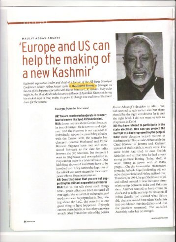 Interview with Kashmiri leader