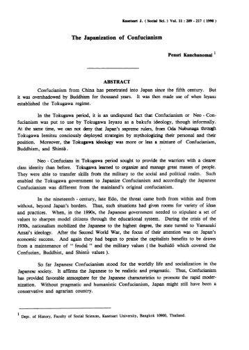 The Japanization of Confucianism - Kasetsart Journal