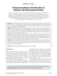 Temporomandibular Joint Disorders in Patients with Rheumatoid ...