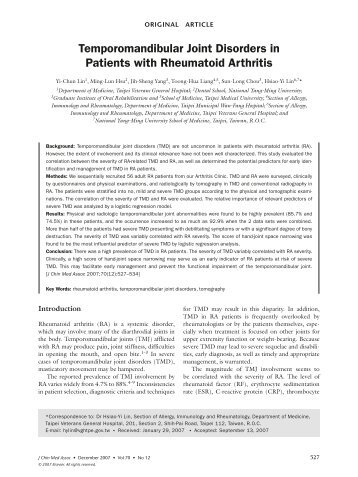 Temporomandibular Joint Disorders in Patients with Rheumatoid ...