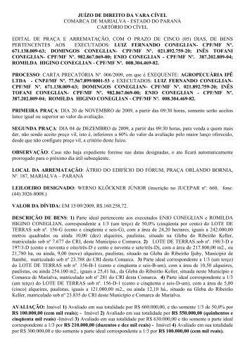 juízo de direito da vara cível comarca de marialva - estado do ...