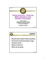 Identity Dominance – Enhancing Military Operations using Biometric ...
