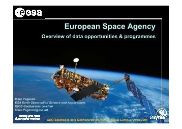 European Space Agency, overview of data ... - IGOS Geohazards