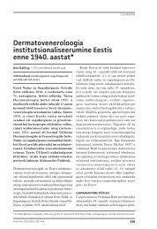 Dermatoveneroloogia institutsionaliseerumine Eestis enne 1940 ...