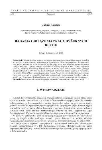 badania obci enia prac dy urnych ruchu - Transportu - Politechnika ...