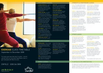EXERCISE CLASS TIMETABLE - David Lloyd