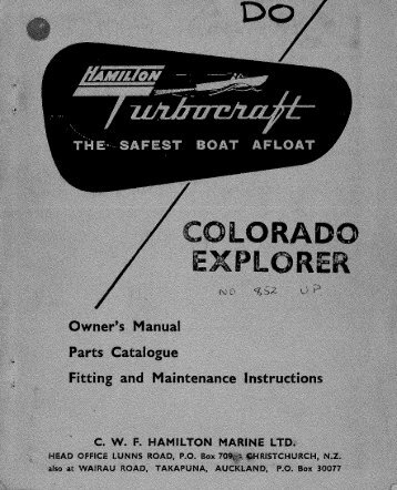 Colorado Explorer Owners Manual