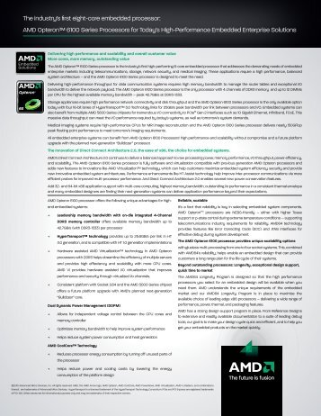 The industry's first eight-core embedded processor: AMD Opteron ...