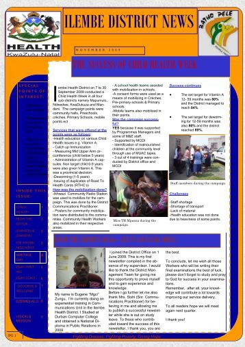 Illembe district newsletter : November 2009