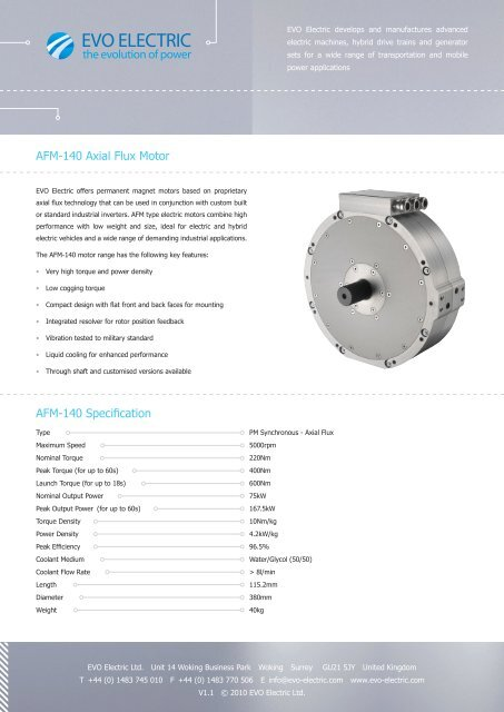 AFM-140 Axial Flux Motor AFM-140 Specification - EVO Electric