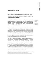 COMUNICAT DE PRESĂ - Wolf Theiss