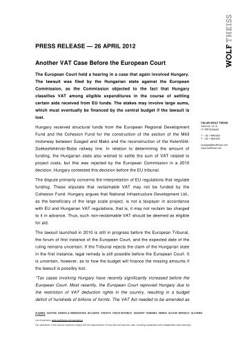 PRESS RELEASE — 26 APRIL 2012 Another VAT ... - Wolf Theiss