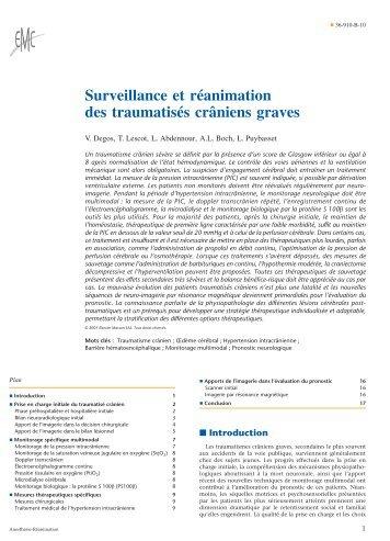 Surveillance et réanimation des traumatisés crâniens graves