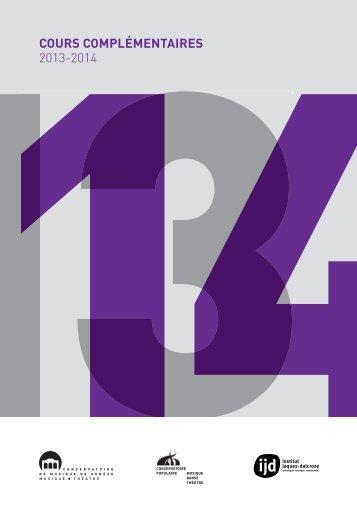 1314COURS COMPLÉMENTAIRES 2013-2014 - Conservatoire de ...