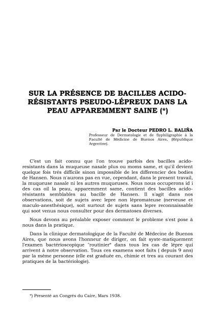 SUR LA PRÉSENCE DE BACILLES ACIDO- RÉSISTANTS ...