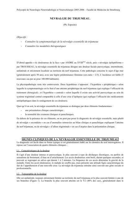 Névralgie du trijumeau - Faculté de Médecine