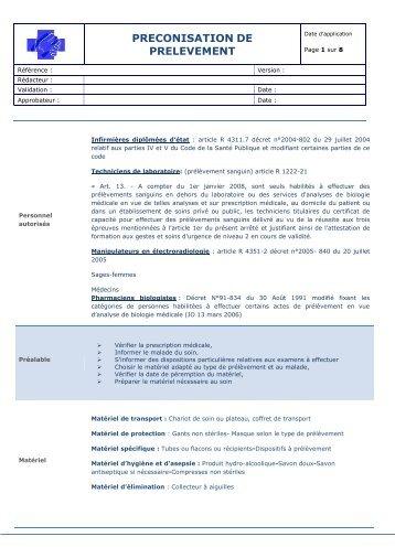 PRECONISATION DE PRELEVEMENT - Manuel de Prélèvement ...