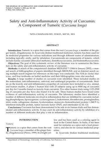 Safety and Anti-Inflammatory Activity of Curcumin: A ... - Pinnaclife