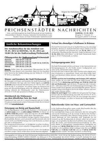 Amtsblatt vom 12. Mai 2012 - Ausgabe 19