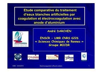 Etude comparative du traitement d'eaux blanches artificielles par ...