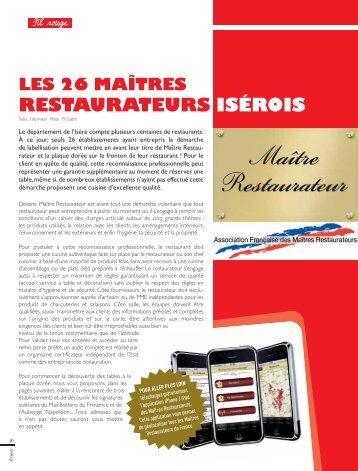 Lire cet article - Maîtres Restaurateurs