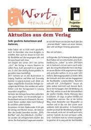 Aktuelles aus dem Verlag - Projekte-Verlag Cornelius