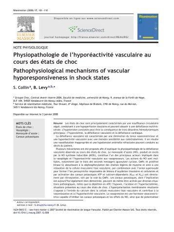 Physiopathologie de l'hyporéactivité vasculaire au cours ... - Index of