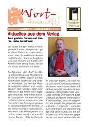 Wort-Gewand(t) 7.pmd - Projekte-Verlag Cornelius