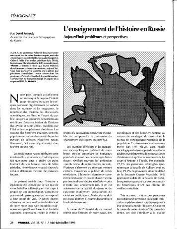 l'enseignement de l'histoire en russie, david poltorak, traces, volume ...