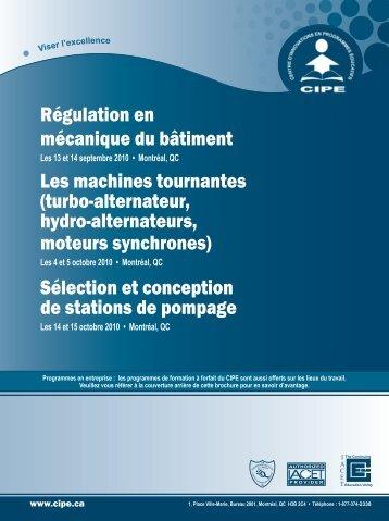 Régulation en mécanique du bâtiment Les machines tournantes ...