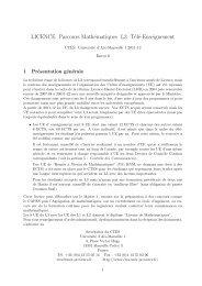 LICENCE Parcours Mathématiques L3 Télé-Enseignement - CMI