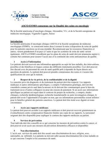 ASCO-ESMO consensus sur la Qualité des soins en oncologie