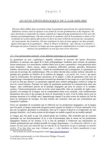 ANALYSE ÉPISTEMOLOGIQUE DE LA GRAMMAIRE - Classedu