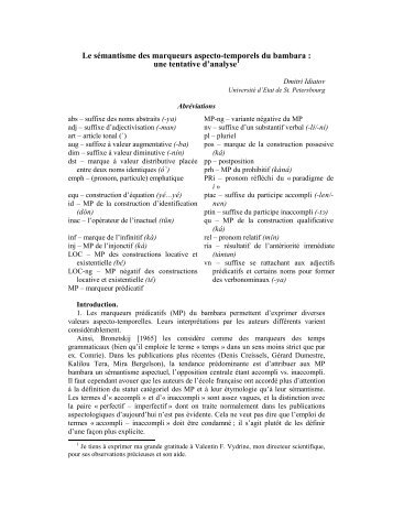 Le sémantisme des marqueurs aspecto-temporels du bambara : une ...